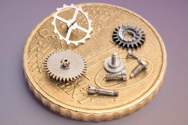 engranajes de reloj macro de estudio